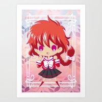 chibi Art Prints featuring Chibi Hikaru by Neo Crystal Tokyo