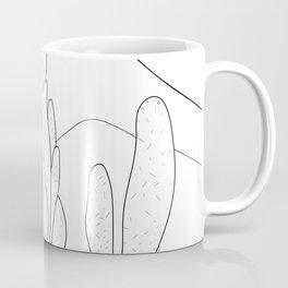 Black and White Cactus and Mountain Minimal Illustration V2 Coffee Mug
