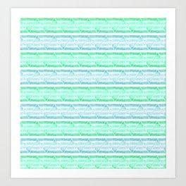 blue&green stripes Art Print