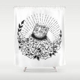 Set of Cats 01 - Cat in Flowers Shower Curtain