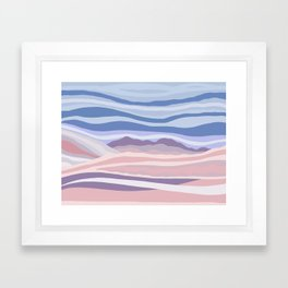 Mountain Scape // Abstract Desert Landscape Red Rock Canyon Sky Clouds Artistic Brush Strokes Framed Art Print