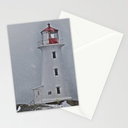 Peggy's Point Lighthouse Snowstorm Stationery Cards