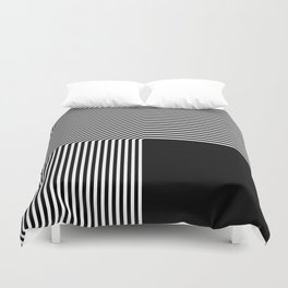 Geometric abstraction, black and white Duvet Cover