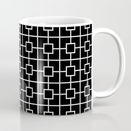 Black and White Square Chain Pattern Coffee Mug