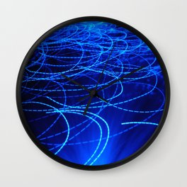 Blue light fiber glass Wall Clock