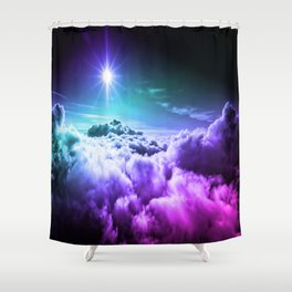 Cool Tone Ombre Clouds Shower Curtain