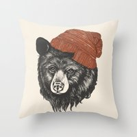 fabric Throw Pillows featuring zissou the bear by Laura Graves