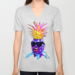 Pineapple Ultraviolet Happy Dude with Sunglasses Unisex V-Neck