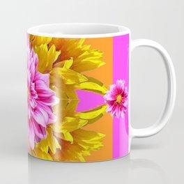 FUCHSIA PINK DAHLIAS & YELLOW SUNFLOWERS GARDEN ART Coffee Mug