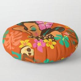Tropical Tiki Girl Floor Pillow
