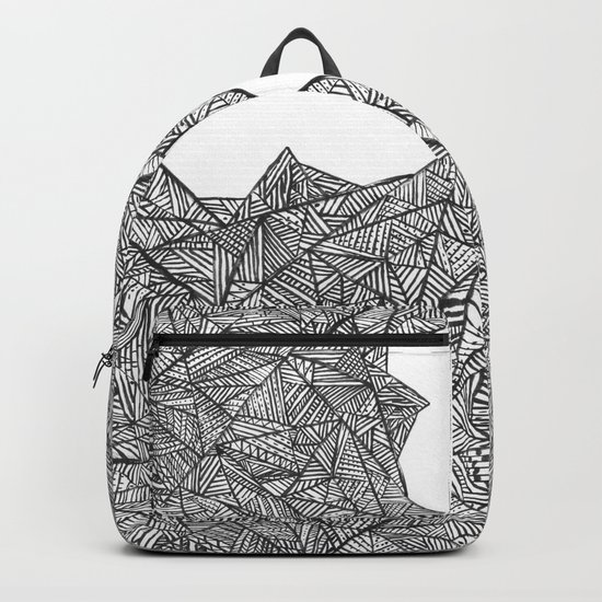Textured black triangles zentangle pattern Backpack