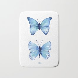 Two Blue Butterflies Watercolor Animals Insects Bath Mat