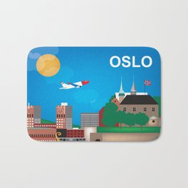 Oslo, Norway - Skyline Illustration by Loose Petals Bath Mat