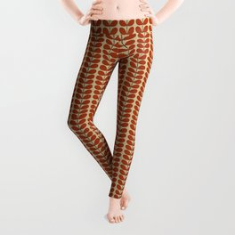Mid Century Danish Leaves, Rust Brown and Beige Leggings