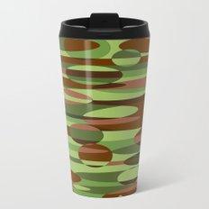 Trendy Green and Brown Camouflage Spheres Metal Travel Mug