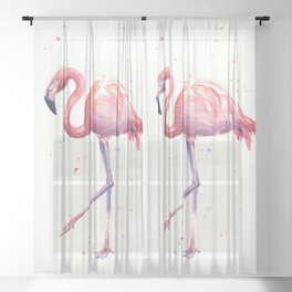 Flamingo Watercolor Pink Bird Sheer Curtain