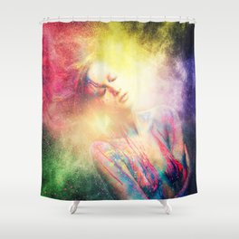 Young woman muse with creative body art and hairdo (2) Shower Curtain