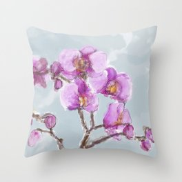 Watercolor Orchids Throw Pillow