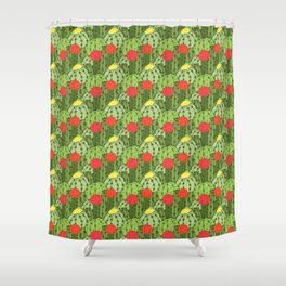 Green and Red Flowering Cactus Pattern Shower Curtain