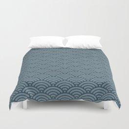 Blue Indigo Denim Waves Duvet Cover