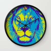 lion king Wall Clocks featuring KING LION by free_agent08