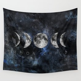 Moon Child Luna Watercolor Wall Tapestry
