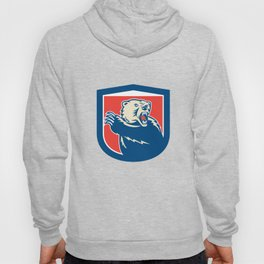 Grizzly Bear Swiping Paw Shield Retro Hoody