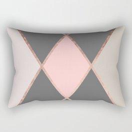 Modern pastel pink gray color block rose gold stripes Rectangular Pillow