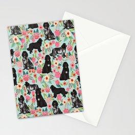 Newfoundland dog owner florals dog pattern print dog breed custom portrait by pet friendly Stationery Cards