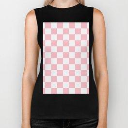 Checkered - White and Pink Biker Tank