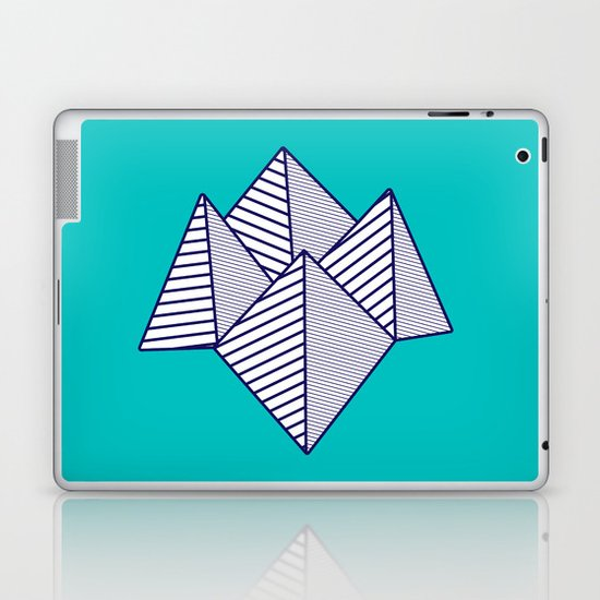 Paku Paku, navy lines on turquoise Laptop & iPad Skin
