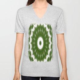 Green White Kaleidoscope Art 7 Unisex V-Neck