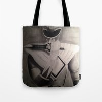 power ranger Tote Bags featuring GO Green Ranger!... GO! by Brown Boy Art