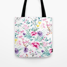 Chinoiserie Decorative Floral Motif Tote Bag