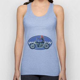 Lady Biker Ride Chopper Motorcycles With Vintage Texture Unisex Tank Top