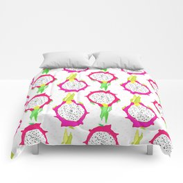 Dragonfruit Slices in Dotty White Comforters