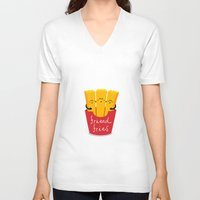 fries V-neck T-shirts featuring Friend Fries by Wai Theng