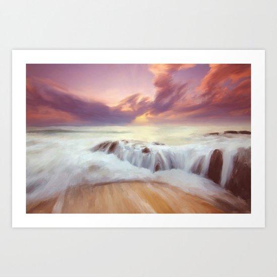 Sunset on the cliffs Art Print