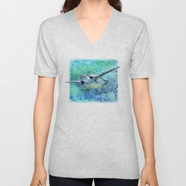 Swimming Turtle In Watercolor Unisex V-Neck