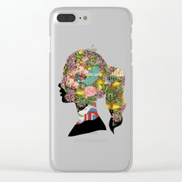 Flowery Girl Clear iPhone Case