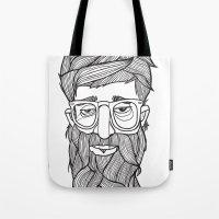 beard Tote Bags featuring Beard by Lawerta
