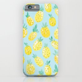 Watercolour Pineapples on Blue iPhone Case
