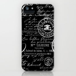 White Vintage Handwriting on Black iPhone Case