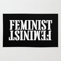 feminist Area & Throw Rugs featuring Feminist by Wild Typography