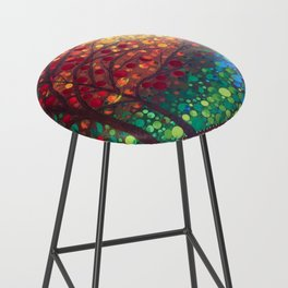 Winter sunset dot art by Mandalaole Bar Stool