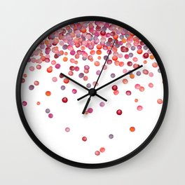 Cute Watercolor Pink, Orange, And Red Confetti Wall Clock