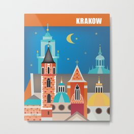 Krakow, Poland - Skyline Illustration by Loose Petals Metal Print