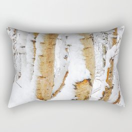 Snow Covered Birch Trees Rectangular Pillow