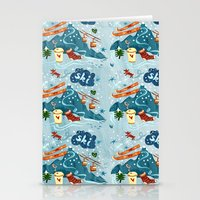 ski Stationery Cards featuring Ski Pattern by Christiane Engel