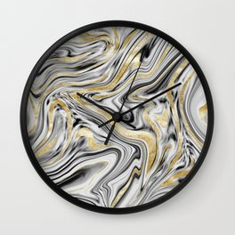 Gray Black White Gold Marble #1 #decor #art #society6 Wall Clock